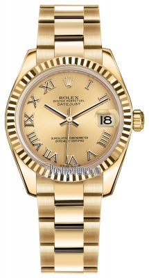 Rolex Datejust 31mm Yellow Gold 178278 Champagne Roman Oyster