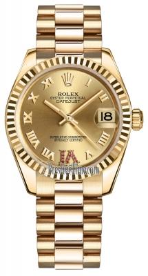 Rolex Datejust 31mm Yellow Gold 178278 Champagne Roman VI Ruby President