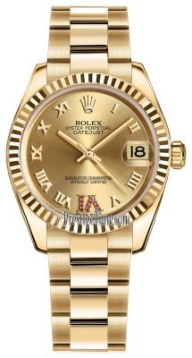 Rolex Datejust 31mm Yellow Gold 178278 Champagne Roman VI Ruby Oyster