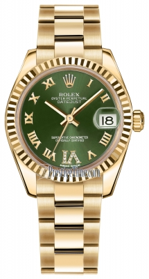 Rolex Datejust 31mm Yellow Gold 178278 Olive Green VI Roman Oyster