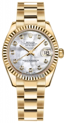Rolex Datejust 31mm Yellow Gold 178278 MOP Diamond Oyster