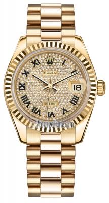 Rolex Datejust 31mm Yellow Gold 178278 Pave Diamond Black Roman President
