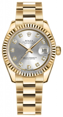 Rolex Datejust 31mm Yellow Gold 178278 Silver Diamond Oyster