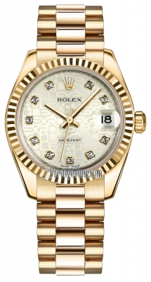 Rolex Datejust 31mm Yellow Gold 178278 Silver Jubilee Diamond President