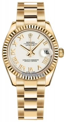 Rolex Datejust 31mm Yellow Gold 178278 White Roman Oyster