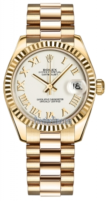 Rolex Datejust 31mm Yellow Gold 178278 White Roman President