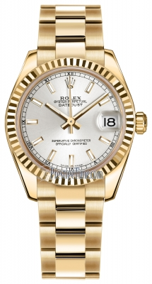 Rolex Datejust 31mm Yellow Gold 178278 Silver Index Oyster
