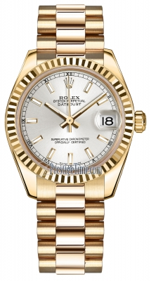 Rolex Datejust 31mm Yellow Gold 178278 Silver Index President