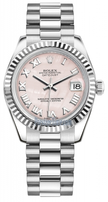 Rolex Datejust 31mm White Gold 178279 Pink MOP Roman President