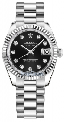 Rolex Datejust 31mm White Gold 178279 Black Diamond President