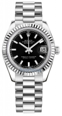 Rolex Datejust 31mm White Gold 178279 Black Index President