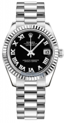 Rolex Datejust 31mm White Gold 178279 Black Roman President