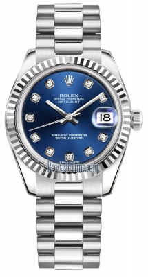 Rolex Datejust 31mm White Gold 178279 Blue Diamond President