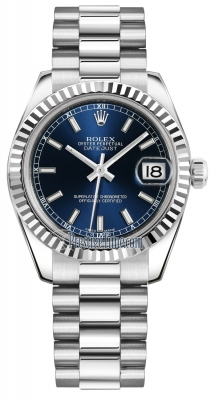 Rolex Datejust 31mm White Gold 178279 Blue Index President