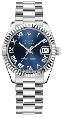 Rolex Datejust 31mm White Gold 178279 Blue Roman President