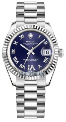 Rolex Datejust 31mm White Gold 178279 Purple VI Roman President