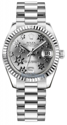 Rolex Datejust 31mm White Gold 178279 Rhodium Floral President