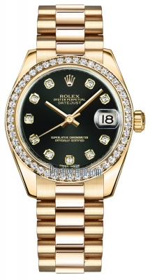 Rolex Datejust 31mm Yellow Gold 178288 Black Diamond President