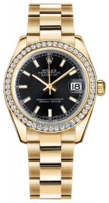 Rolex Datejust 31mm Yellow Gold 178288 Black Index Oyster