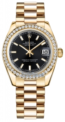 Rolex Datejust 31mm Yellow Gold 178288 Black Index President