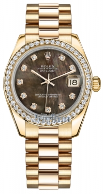 Rolex Datejust 31mm Yellow Gold 178288 Black MOP Diamond President