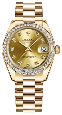 Rolex Datejust 31mm Yellow Gold 178288 Champagne Diamond President