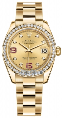 Rolex Datejust 31mm Yellow Gold 178288 Champagne 8 Diamond 32 Ruby Oyster
