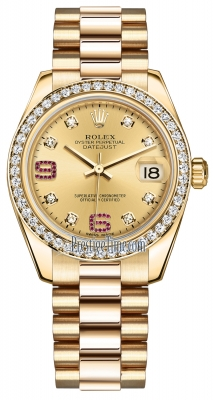 Rolex Datejust 31mm Yellow Gold 178288 Champagne 8 Diamond 32 Ruby President
