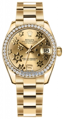 Rolex Datejust 31mm Yellow Gold 178288 Champagne Floral Oyster