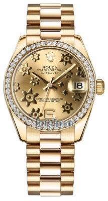 Rolex Datejust 31mm Yellow Gold 178288 Champagne Floral President