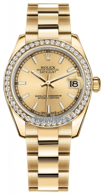 Rolex Datejust 31mm Yellow Gold 178288 Champagne Index Oyster