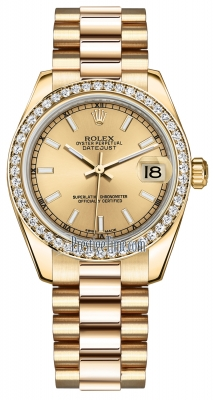 Rolex Datejust 31mm Yellow Gold 178288 Champagne Index President