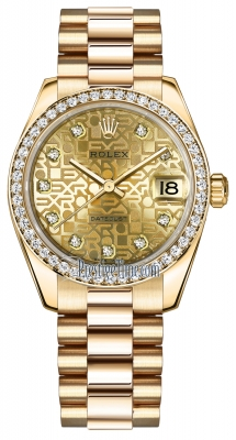 Rolex Datejust 31mm Yellow Gold 178288 Champagne Jubilee Diamond President