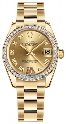 Rolex Datejust 31mm Yellow Gold 178288 Champagne Roman VI Rubies Oyster