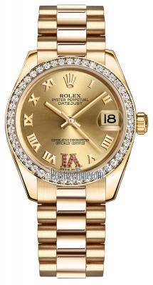 Rolex Datejust 31mm Yellow Gold 178288 Champagne Roman VI Rubies President