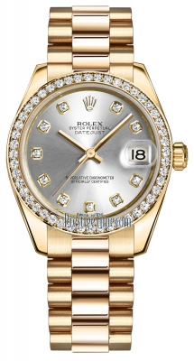 Rolex Datejust 31mm Yellow Gold 178288 Silver Diamond President