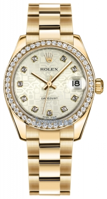 Rolex Datejust 31mm Yellow Gold 178288 Silver Jubilee Diamond Oyster