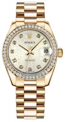 Rolex Datejust 31mm Yellow Gold 178288 Silver Jubilee Diamond President