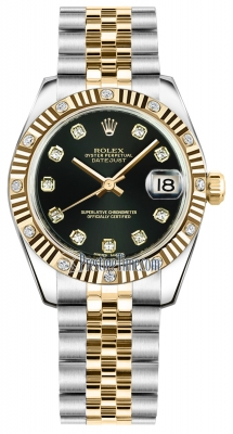 Rolex Datejust 31mm Stainless Steel and Yellow Gold 178313 Black Diamond Jubilee