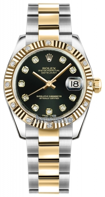 Rolex Datejust 31mm Stainless Steel and Yellow Gold 178313 Black Diamond Oyster