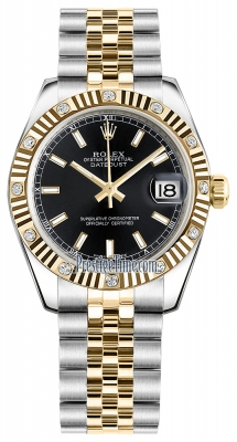 Rolex Datejust 31mm Stainless Steel and Yellow Gold 178313 Black Index Jubilee