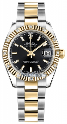 Rolex Datejust 31mm Stainless Steel and Yellow Gold 178313 Black Index Oyster