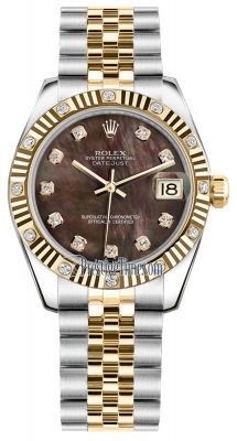 Rolex Datejust 31mm Stainless Steel and Yellow Gold 178313 Black MOP Diamond Jubilee