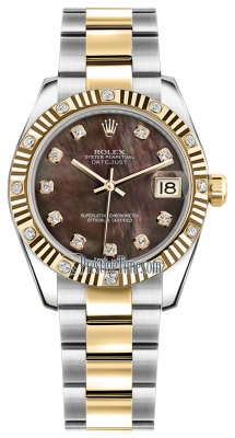 Rolex Datejust 31mm Stainless Steel and Yellow Gold 178313 Black MOP Diamond Oyster