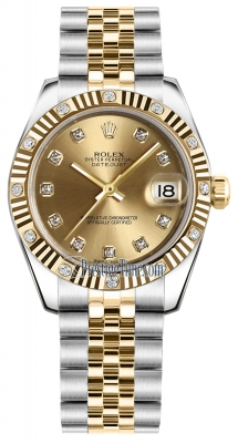 Rolex Datejust 31mm Stainless Steel and Yellow Gold 178313 Champagne Diamond Jubilee