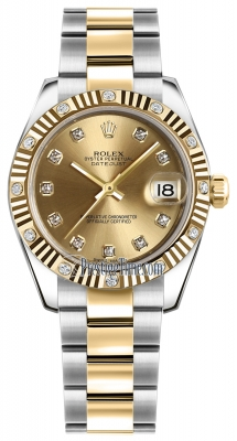 Rolex Datejust 31mm Stainless Steel and Yellow Gold 178313 Champagne Diamond Oyster