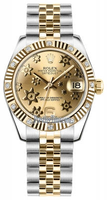 Rolex Datejust 31mm Stainless Steel and Yellow Gold 178313 Champagne Floral Jubilee