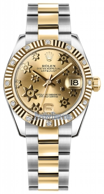 Rolex Datejust 31mm Stainless Steel and Yellow Gold 178313 Champagne Floral Oyster