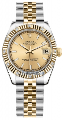 Rolex Datejust 31mm Stainless Steel and Yellow Gold 178313 Champagne Index Jubilee