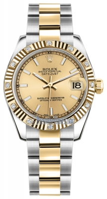 Rolex Datejust 31mm Stainless Steel and Yellow Gold 178313 Champagne Index Oyster